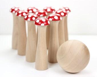 Waldorf Inspired Mushroom Bowling Set - Kinoko 10 Pin Medium - Wooden Bowling Game - Red with White Spots