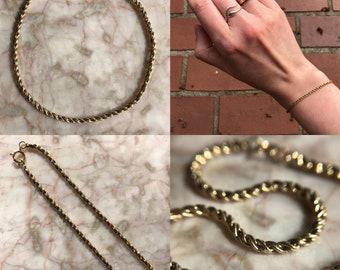 Vintage 14k Woven Rope Link Bracelet