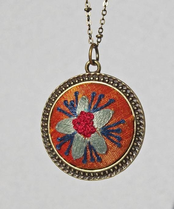 Silk Embroidered Flower Pendant / Floral Stitched Necklace / Mandarin Orange Silk / Gift For Her