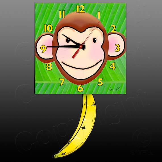 Monkey Clock with Banana Pendulum • Chimp Clock • Jungle Clock