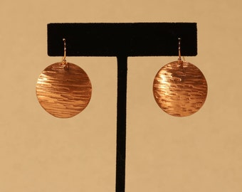 Linear Textured Disk Earrings