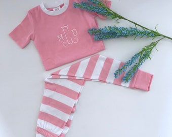 Monogrammed Girls Pajama's  - Pink and White Striped PJs - Easter PJs - Spring PJs