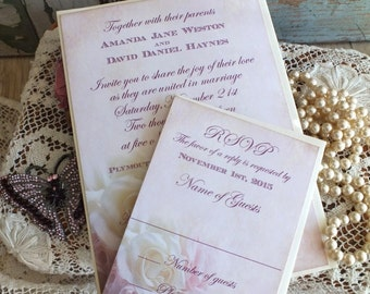 Vintage Romantic Roses Wedding Invitation Suite Handmade by avintageobsession on etsy