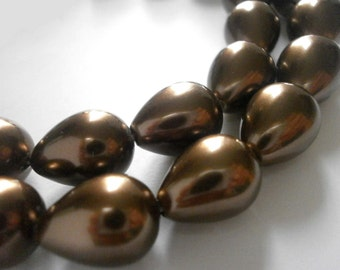 10 pcs Large Teardrop Pearl Beads 13mm x 10mm Big Bronze Luster Pearls Coated Glass Pearl Drops