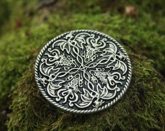 Medallion of dragons, silver finish, decorative rivet for leather