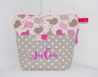 PERSONALISABLE baby toiletry flared, pink, green and taupe, birds