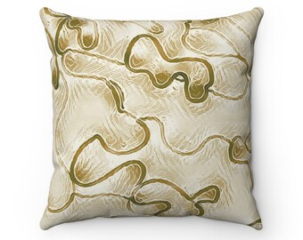 Stylish Abstract Beige Decorative Square Cushion