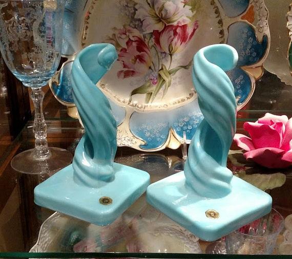 Blue Milk Glass Candlesticks / Westmoreland