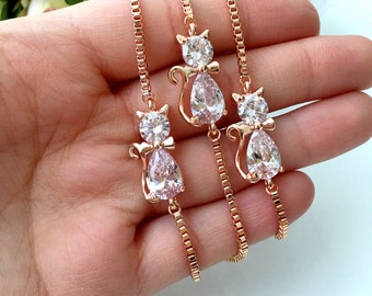 SALE 25% OFF- swaroski cat bracelet, gold plated evil cat bracelet, gold evil eye bead bracelet, kitty bracelet, swaroski cat charm