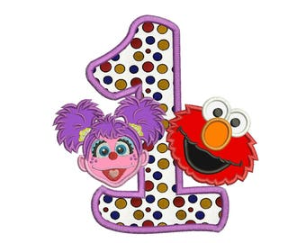 Abby and Elmo 1st Birthday Applique Design 3 sizes instant download