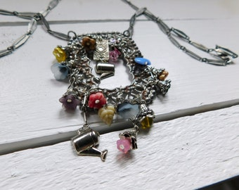 The Trellis Necklace. Czech Glass Flowers, Mini Watering Cans, & Floral Boho Neck Art. Gift for her. Spring Flowers. One of a kind.