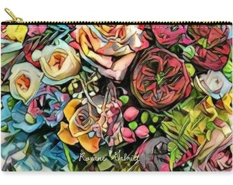 Floral Handbag, colorful zip Pouch, floral Coin Purse, Designer Zip Pouch, Makeup Bag, Cosmetic Bag, zip purse, bouquet clutch, zip pouch