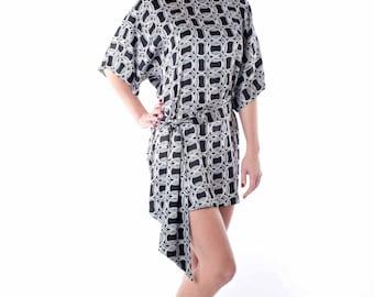 Silk mini dress, black, white, silk belt