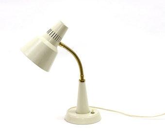 "Vintage white Swedish gooseneck ""Gemi""-lamp. Scandinavian design"