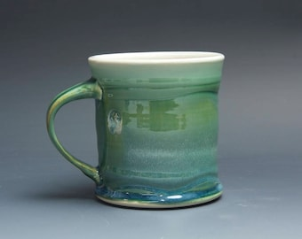 Pottery coffee mug, ceramic mug, stoneware tea cup jade green 14 oz 4152
