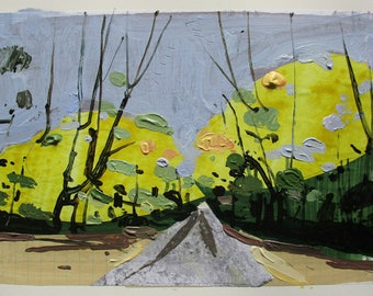 Little Shower, October 15, Original Autumn Landscape Collage Painting on Paper, Stooshinoff