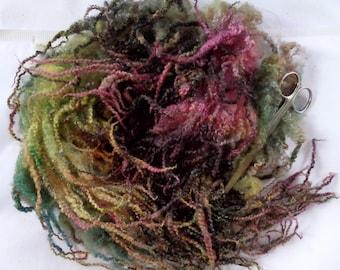30g (32.00 Euro/100g) 1oz Bluefaced Leicester fleece wool, doll hair, felting wool, hand dyed fleece, spinning, red, orange, 100% wool