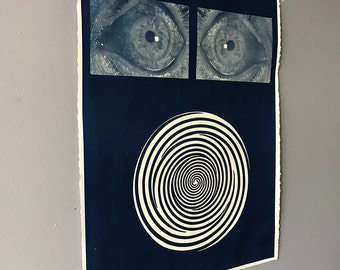 eyes and hypnosis disc original art cyanotype signed
