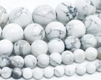 "White Howlite Beads Natural Gemstone Round Loose - 4mm 6mm 8mm 10mm 12mm - 15.5"" Strand"