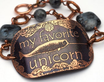 Narwhal bracelet, grey and black Norwegian moonstone beads and etched copper, my favorite unicorn, 8 inches long