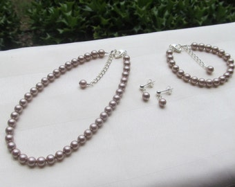 Tan Flower Girl Jewelry Light Brown Swarovski Pearls Bridal Jewelry Set