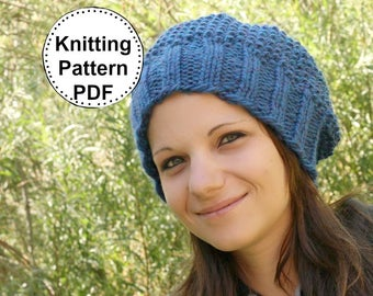 KNIT HAT PATTERN Instant Pdf Download - Christine Slouchy Beanie Textured Slouch Hat Pattern Womens Teen Winter  Fall