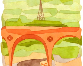Abstrait Art Print mi siècle moderne Art Print «Penge Bridge» vert orange marron 8 x 10