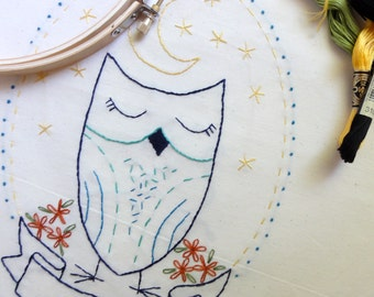 Embroidery Pattern - Sleepy Owl  - Instant Download