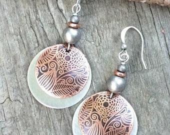 Mixed Metal Earrings, Mixed Metal Jewelry, Copper Dangle Earrings, Copper Jewelry Earrings, Etched Copper Jewelry, Etched Copper Earrings