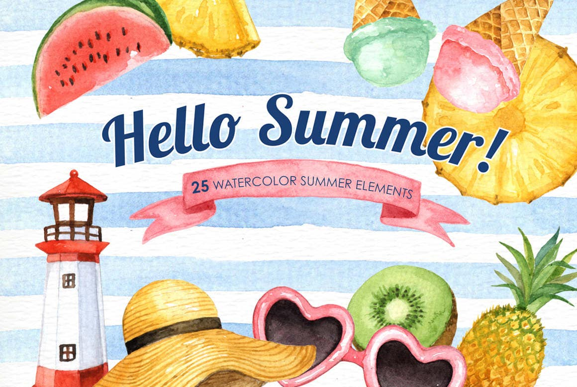 Hello Summer Watercolor clipart Tropical Clip Art Summer