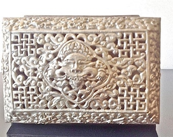 Old Tibetan Carved Silver Box