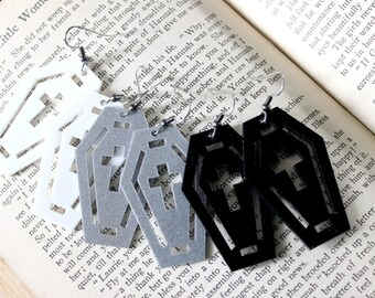 Acrylic Coffin Earrings in Black White or Silver Glitter - Halloween Goth Witch Vampire