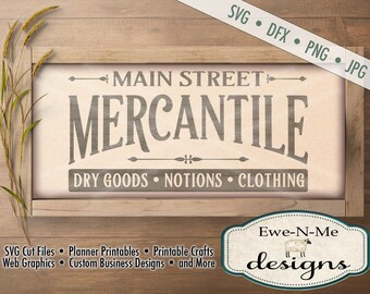 Mercantile SVG - dry goods notions clothing svg - main street mercantile cut file - kitchen svg - Commercial Use svg, dxf, png, jpg