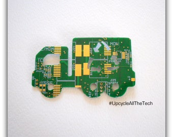 Recycling Truck Silhouette Cut Out of Recycled Circuit Board - Choose Option: Magnet, Pin or Hanging Ornament?