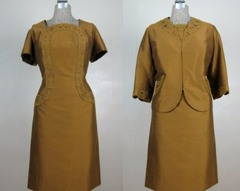 CLEARANCE // Vintage 1960s Dress and Jacket Set 60s Green/Gold Silk Blend Suit with Great Details Size L