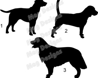 Vinyl Dog Decal Silhouettes for car decals or windows Beagle, Lab, Retriever, and Paws in your colors