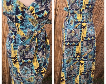 1950's Tiki Goddesss Blue turquoise and Yellow  sarong dress VLV rockabilly pin up