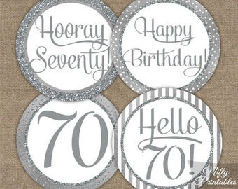 70th Birthday Cupcake Toppers - Silver 70th Birthday Toppers - 70 Year Old Birthday Party Decorations - 70th Birthday Favor Tags SLV