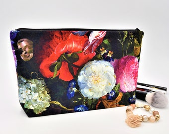 """Cosmetic bag with zipper organizer bag flowers 10.8x6.1"""" / 27.5x15.5 cm Makeup bag Pencil case accessories Mothers day gift black pink red"""