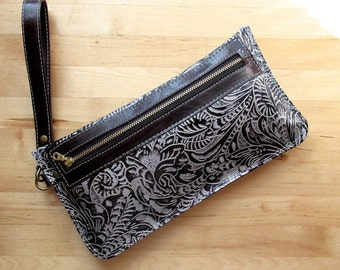 Southwestern Leather clutch, iPhone case, leather pouch, leather purse, Black leather bags, Gift for girlfriend, Christmas gift, gifts