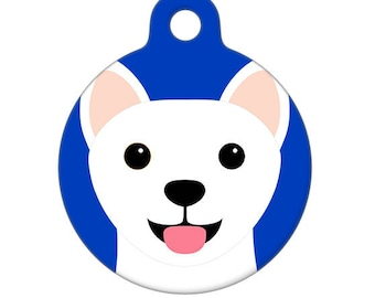 Pet ID Tag - White Shiba Inu Pet Tag, Dog Tag