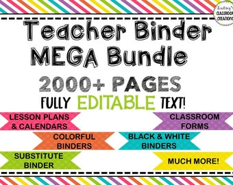 "Teacher Planner Bundle | EDITABLE and Printable | 8.5"" x 11"" 