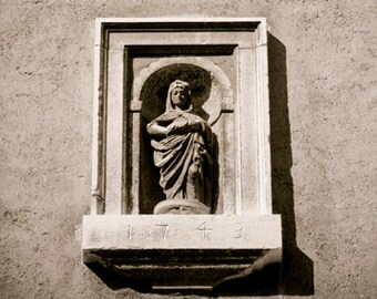 The Petite Madonna - Italy photograph - Tuscany - Fine art travel photography - Bas relief - sculpture - Blessed Mother -sepia