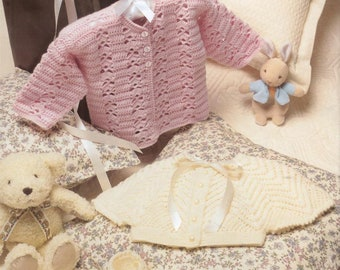 Baby's Lacy Cardigan, Bonnet And Bootees/ Baby's Crochet Cardigan/0-12 Months/ Instant PDF Digital Download Vintage Crochet  Pattern - 889