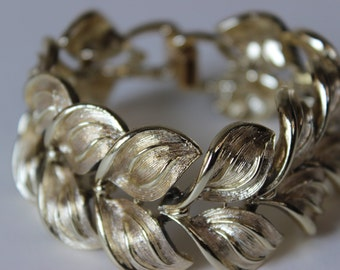 Jahrgang Coro Armband unterzeichnet Gold Tone Link Leaf Design
