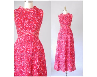 Mike Benet red sequin dress | 1960s party gown | vintage red dress