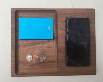 QI wireless phone charging station / Valet tray / Solid Walnut / Man tray / Tidy / Bedside table / Office tidy / Coin tidy / Organiser