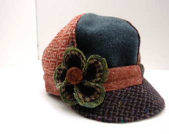 Girls Newsboy Hat, Little Girls Newsboy Hat, flower, Girls winter hat, Kids Photo Prop, Recycled Mens Suit Coat, Vintage, Girls Winter Hat