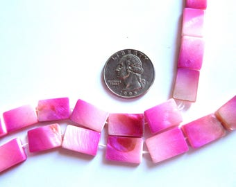 25 Rectangular Pink Mother of pearl Beads, Rectangle Pink Beads, Pink Rectangle Beads, Small Pink Beads, Pink Shell Beads, Rectangular Beads