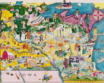30's WISCONSIN and MINNESOTA Picture Map Pictorial State Cartoon Map of Minnesota Print Gallery Wall Art Gift for Map Collector and Traveler